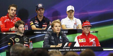 Jules Bianchi, Jean-Eric Vergne, Valtteri Bottas, Romain Grosjean, Nico Rosberg and Kimi Raikkonen all participated in the press conference.