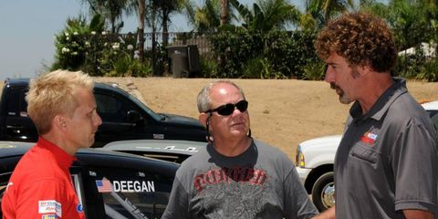 Kenny Brack, left, Paul Page and Boris Said, right, talk racing in 2010.