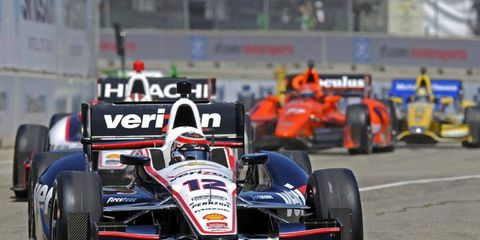 Will Power drove his Chevy to victory on Saturday in the first Detroit IndyCar race of the weekend.