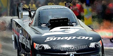 Cruz Pedregon broke the Funny Car qualifying record on Friday in New Jersey.