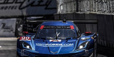 Richard Westbrook and Michael Valiante drove their Corvette DP to the pole in Detroit on Friday.
