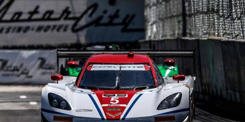 Christian Fittipaldi takes his Corvette DP through practice on Friday on Belle Isle in Detroit.