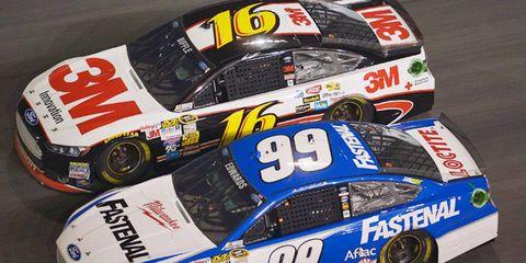 Carl Edwards (99) and Greg Biffle (16) are candidates to become free agents following the 2014 NASCAR Sprint Cup Series season.