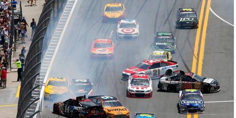 There were two major crashes that resulted in just 17 cars racing on the lead lap when the rains came on lap 112.