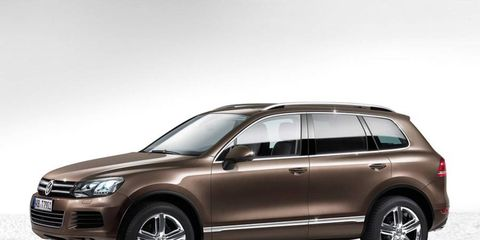 Our V8 diesel was white, not this German brown, but both have more torque than U.S.-spec Touaregs.