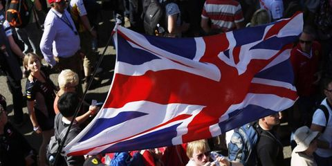 A Union Jack flies over Silverstone at last year's British Grand Prix. This year's race takes place this weekend.
