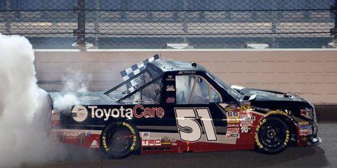 The No. 51 Toyota Tundra of Erik Jones won the NASCAR Camping World Truck Series race at Iowa on Friday night.