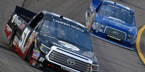 Erik Jones' truck failed inspection after winning at Iowa Speedway on Friday night.