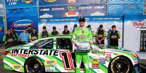 Kyle Busch claims the first NASCAR Sprint Cup Series prize of the racing weekend at New Hampshire Motor Speedway.