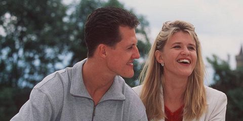 Corinna Schumacher, right, offered a hopeful sign about the recovery of her husband, Michael Schumacher, in a recent interview with a women's magazine in Germany.