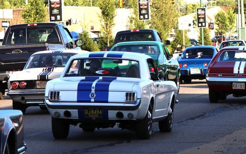 One of the many classic Mustangs roaming Woodward Avenue.