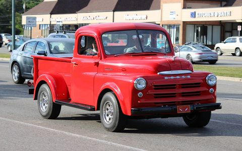 This red Dodge pickup cruised Woodward before the Dream Cruise