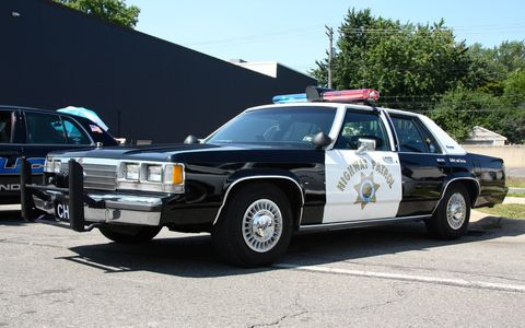 Cop cars at the Woodward Dream Cruise 2014