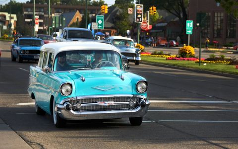 Here's a sharp Bel Air wagon on Woodward Avenue this year.