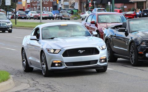 A 2015 Ford Mustang makes a cameo appearance.