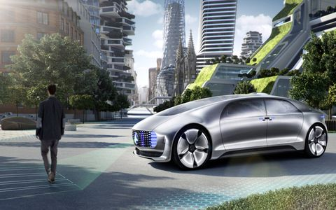 The Mercedes F015 is so polite that it makes its own crosswalk for pedestrians.