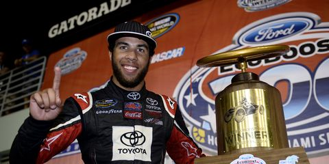 Darrell Wallace Jr. celebrates after winning the trucks race at Homestead-Miami. Wallace, at his request, was released from his contract at Joe Gibbs Racing.