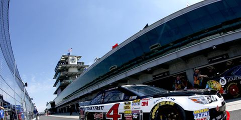 Kevin Harvick won the pole for the Brickyard 400, which will be held on Sunday in Indianapolis.