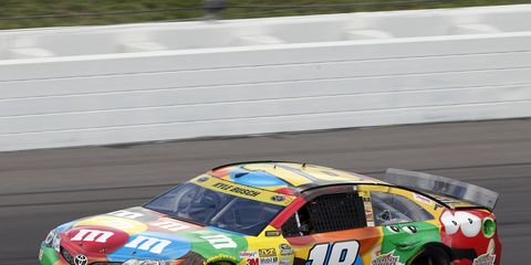 Kyle Busch finished third in Kansas in Sunday's NASCAR Sprint Cup race, a track that has traditionally given him trouble.