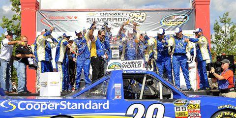 Ryan Blaney won Sunday's NASCAR Camping World Trucks race.