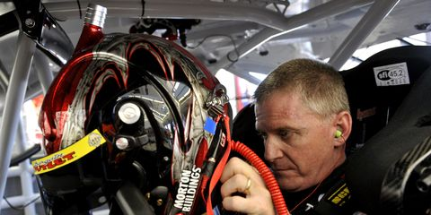 Jeff Burton suits up for a NASCAR Sprint Cup race in 2014. Burton's son Harrison will make his NASCAR K&N debut this weekend.
