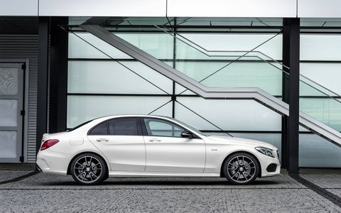 The Mercedes-Benz C450 AMG 4MATIC produces 362 hp and 384 lb-ft of torque.