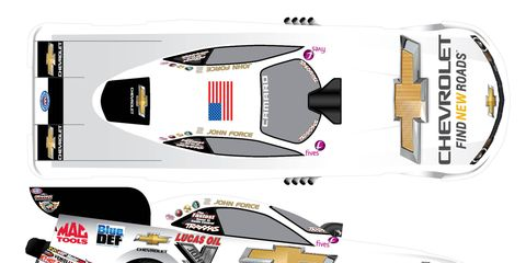 An artist rendering of John Force's Chevrolet for this weekend's Four-Wide Nationals reveals a white wrap, heavy on the bowtie.