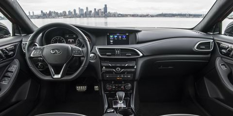 2018 Infiniti QX30 Luxury and Premium grades feature eight-way power adjustable front seats with four-way power-adjustable lumbar support. Heated front seats are standard on Luxury and Premium grades. The rear seat is a fold-flat, 60/40 split-folding design for added utility. A rear seat pass-through (ski hatch) is also available.