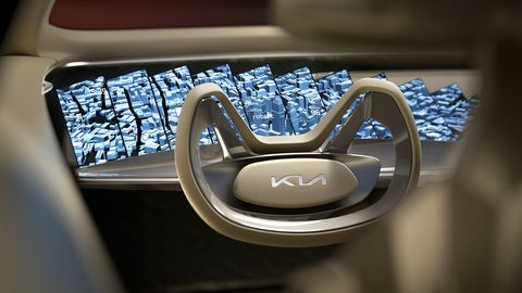 The Imagine Kia concept features very futuristic features like the yolk-style steering wheel and abstract digital display.