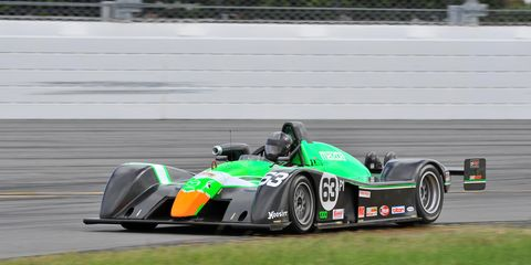 Downing races in the 2015 SCCA Runoffs at Daytona International Speedway.