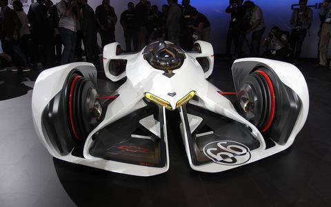 The Chaparral 2X VGT concept debuted at the LA Auto Show ahead of its virtual debut in the Gran Turismo 6 racing video game.