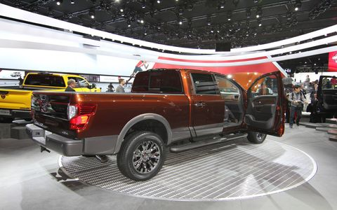 The new Nissan Titan turbodiesel pickup truck from the 2015 Detroit auto show floor