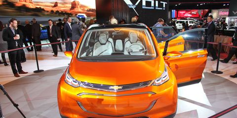 Chevrolet surprised the Detroit auto show Monday morning with the reveal of the Bolt EV, a chunky-looking crossover with 200 miles of range.