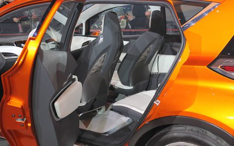 According to Chevy, the Bolt makes the most of its interior space with small overhangs. Lightweight materials lower the curb weight and raise efficiency.