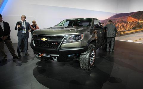 The Chevrolet Colorado ZR2 concept on the floor of the LA Auto Show.