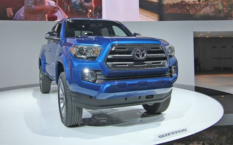 An up-close look at the redesigned 2016 Toyota Tacoma pickup from the floor of the 2015 Detroit auto show, where it made its world debut.