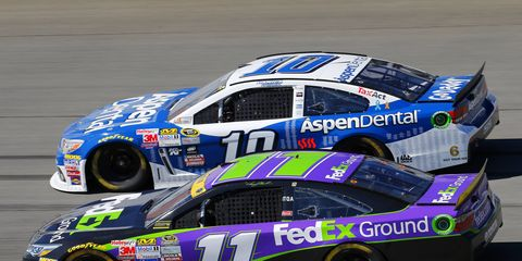 Danica Patrick and Denny Hamlin traded paint during practice at Bristol on Saturday.