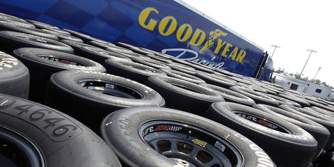 Goodyear Eagles rest stacked at Darlington Speedway prior to tire selection for the Southern 500 in September.