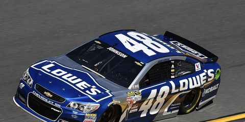 Jimmie Johnson will start on the outside front row for the 2015 Daytona 500. He'll also lead the field in Thursday's second Duel at Daytona.