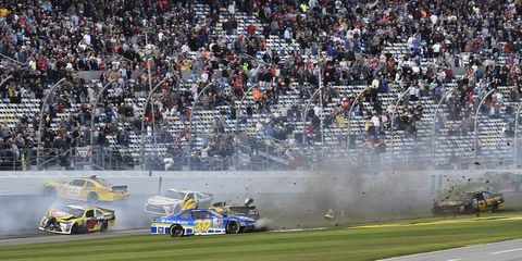 Daytona International Speedway produced plenty of crash action on Saturday in the NASCAR Xfinity Series race.