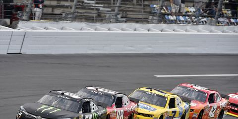 Kyle Busch, shown racing in Daytona back in February, has been cleared to drive again after suffering a broken leg.