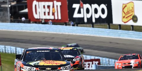 Tony Stewart was running with the leaders until a suspension issue sent him to the sidelines early at Watkins Glen.