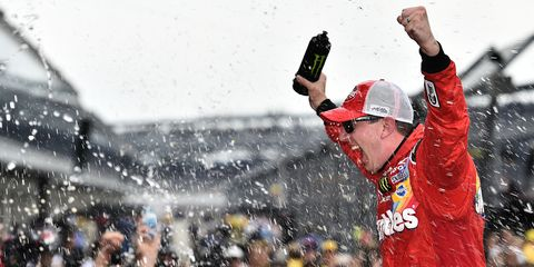 Kyle Busch celebrates after a win at Indianapolis Motor Speedway last weekend.