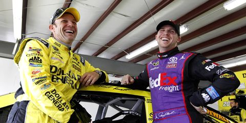 Matt Kenseth and Denny Hamlin have plenty of reasons to smile, as the Joe Gibbs Racing teammates have won the first two Chase races.
