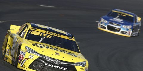 Matt Kenseth won the pole for Sunday's Sprint Cup race after qualifying was scrubbed because of wet weather. Kenseth won based on points.