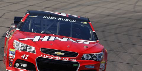 Kurt Busch missed three races due to a NASCAR suspension before winning his first pole of the season Friday in California.