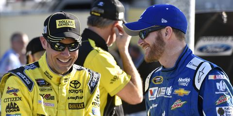 Matt Kenseth, left, and Dale Earnhart Jr., right, are both in the Chase hot seat going into Kansas this weekend.