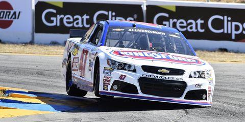 NASCAR Sprint Cup driver AJ Allmendinger takes the pole for Sunday's race in Sonoma.