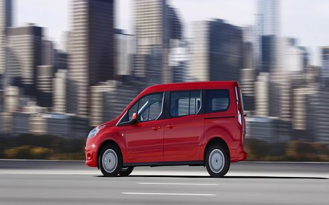 The 2014 Ford Transit Connect Titanium Wagon LWB comes in at a base price of $28,005 with our tester topping off at $32,145.