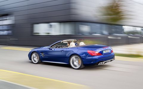 The SL65 delivers 621 hp and 738 lb-ft of torque from its 6.0-liter, twin-turbocharged V12.
